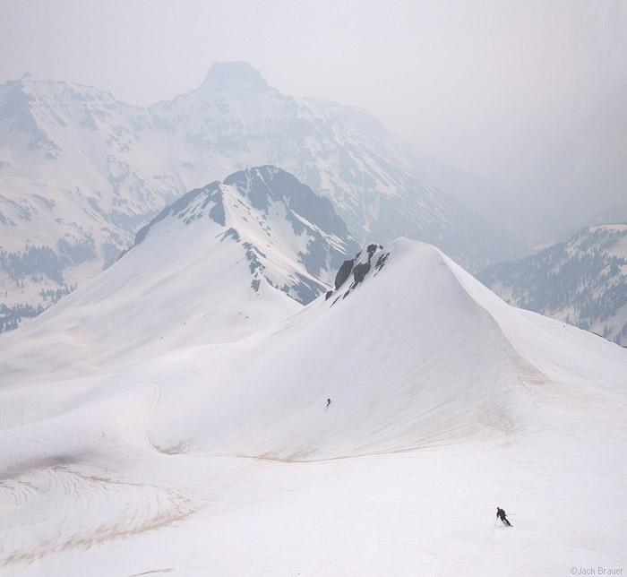 Skiing in forest fire smoke - San Juan Mountains, Colorado