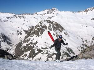 Hiking with skis, San Juan Mountains, Colorado