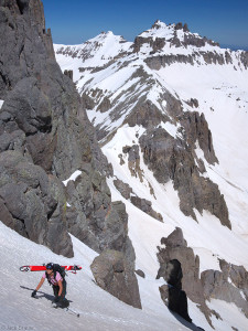Climbing up Potosi's couloir, San Juan Mountains, Colorado