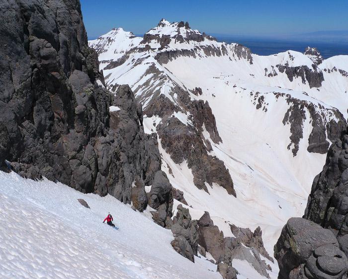Snowboarding the north couloir of Potosi Peak, San Juan Mountains, Colorado