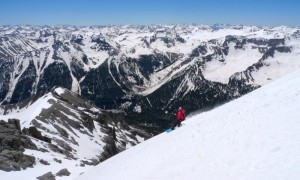 Snowboarding from the summit of Potosi Peak, San Juan Mountains, Colorado