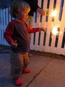 James's first sparkler