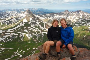 Claudia and Jack on the summit of Uncompahgre Peak