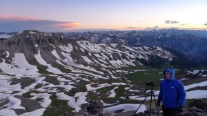 Photographing above Wetterhorn Basin, San Juans, Colorado