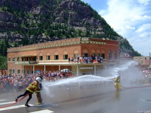 4th of July waterfights in Ouray