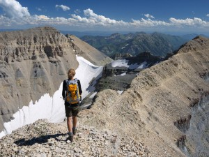 Hiking Mt. Timpanogos summit ridge, Utah