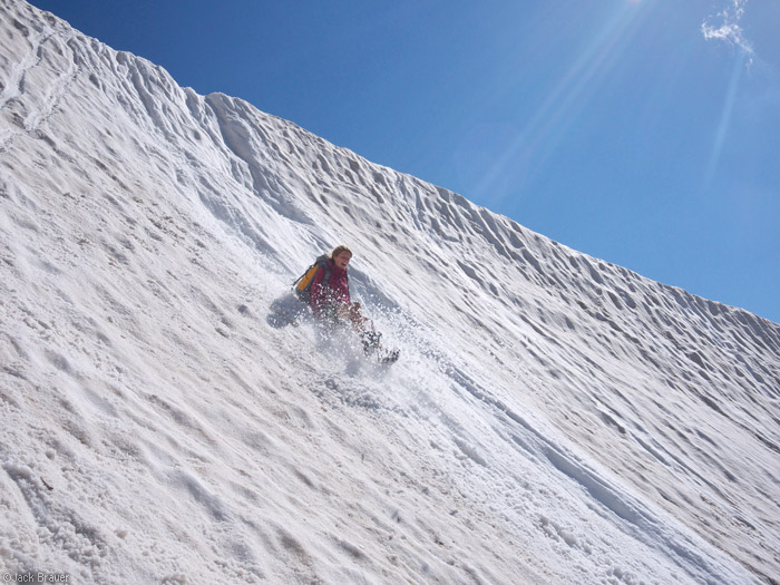 Sliding down the Mt. Timpanogos glacier, Utah