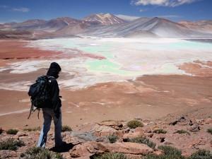 Hiking above Laguna Aguas Calientes, Atacama, Chile