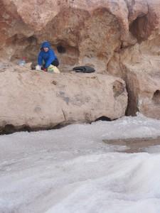 Camping at Laguna Aguas Calientes, Atacama, Chile