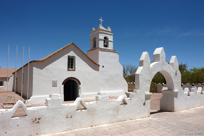 Adobe church in San Pedro de Atacama, Chile