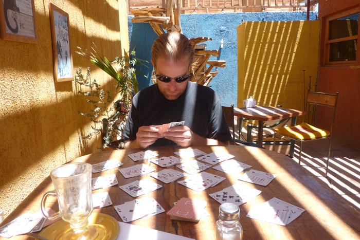 Playing cards in San Pedro de Atacama, Chile