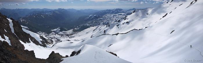 Spring snowpack above Termas de Chillan, Chile