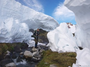Big snowpack at Valle de Aguas Calientes, Chile