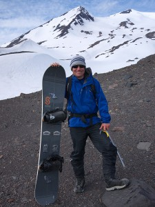 Jack and splitboard, Vulcan Nevado, Chile