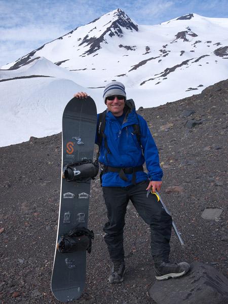 Jack and splitboard, Volcán Nevado, Chile