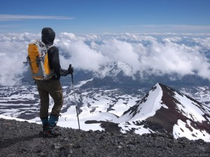 Standing on the summit of Vulcan Nevado, Chile