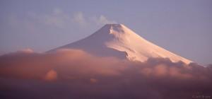 Sunset on Vulcan Villarrica, from Pucón, Chile