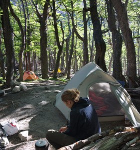 Camping in Valle Frances, Torres del Paine, Chile
