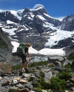 Hiking below Cerro Paine Grande, Torres del Paine, Chile