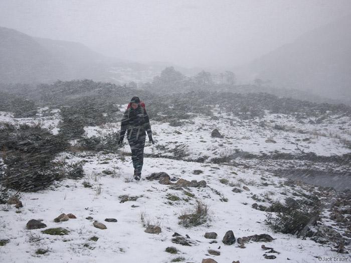 Snowy trekking on Isla Navarino, Chile
