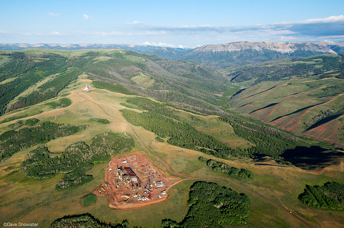 Aerial view of gas development on Riley Ridge, southern Wyoming Range