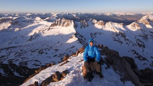 Jack Brauer on the summit of Mt. Sneffels, San Juans, Colorado