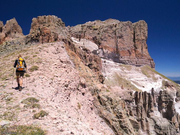 Hiking up the ridge of Precipice Peak, Colorado