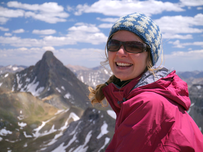 Claudia on the summit of Redcliff, Colorado