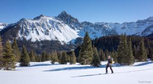 skiing in front of Mt. Sneffels