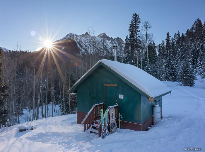 sunrise at the Blue Lakes Hut