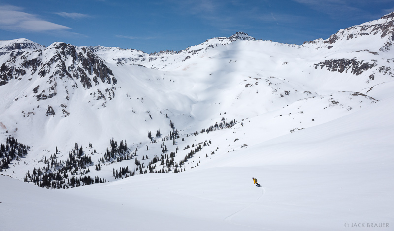 Backcountry snowboarding in the San Juans, Colorado