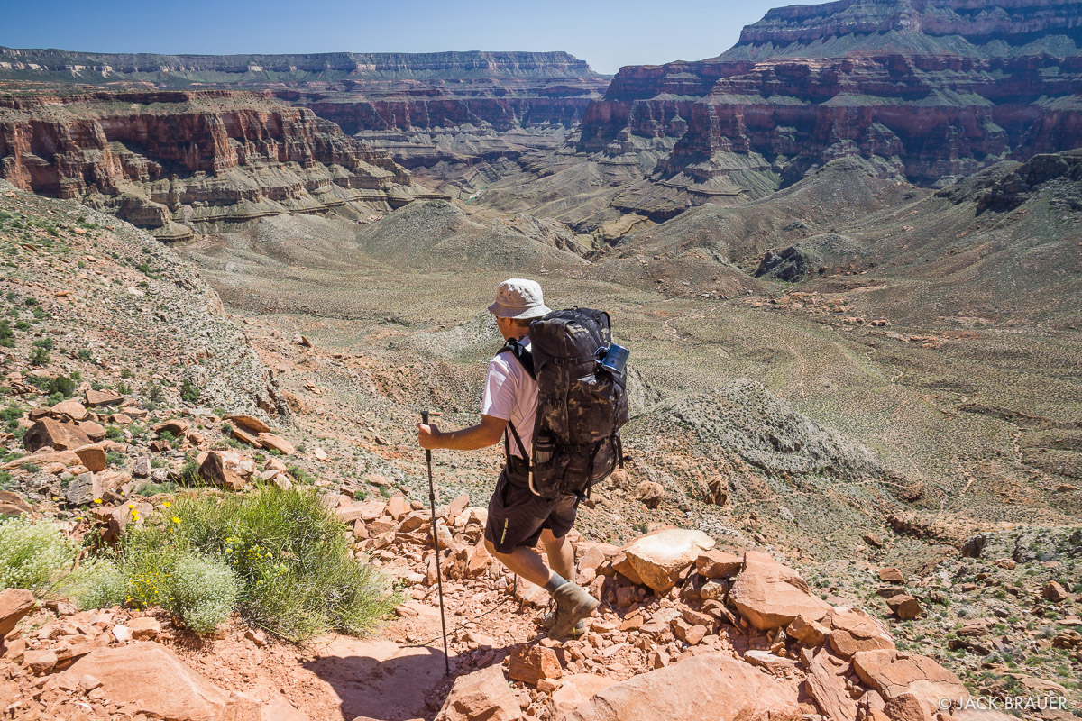 Hiking into the Grand Canyon with the Seek Outside Unaweep-Exposure panel loader backpack.