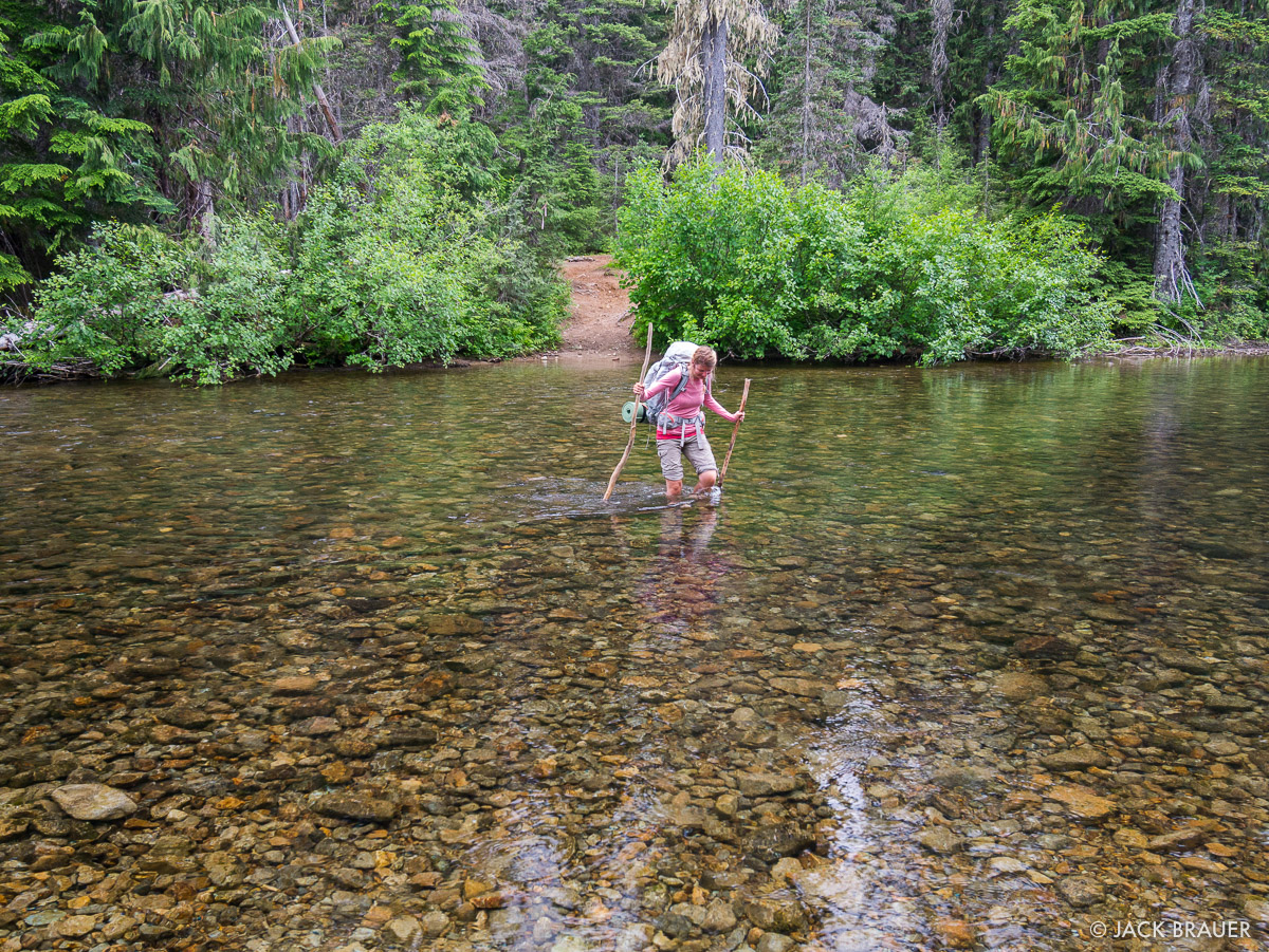 Fording the Waptus River.