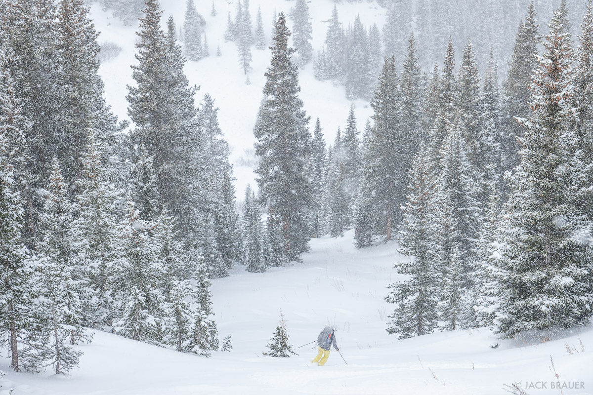 Skiing near the Mount Hayden Backcountry Lodge in the San Juan Mountains of Colorado.